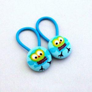 19mm blue owl button elastics pair