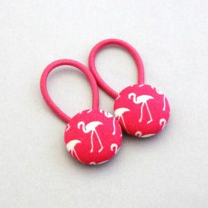 19mm pink flamingo button elastics pair