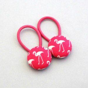 19mm pink flamingo button elastics pair