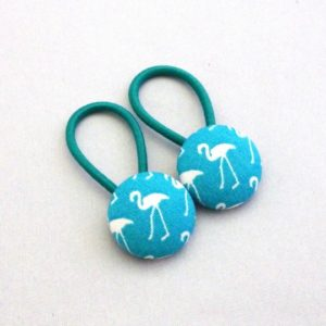 19mm turquoise flamingo button elastics pair