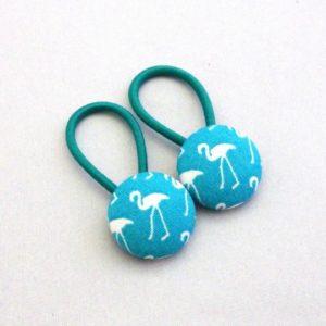 19mm turquoise flamingo button elastics pair
