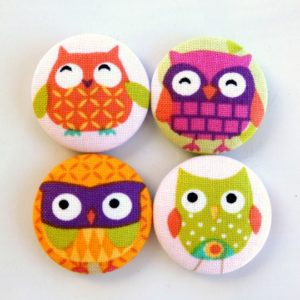 28mm Bright Owls Magnets Set of 4