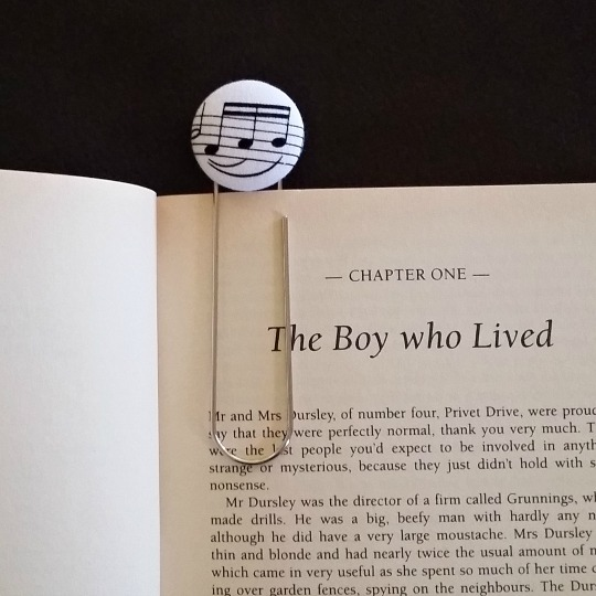 28mm Button Bookmark in book