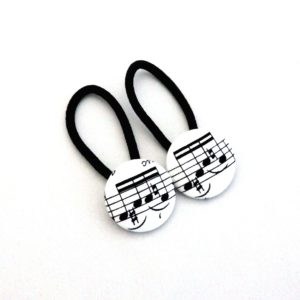 28mm Music Notes Black on White Button Elastics
