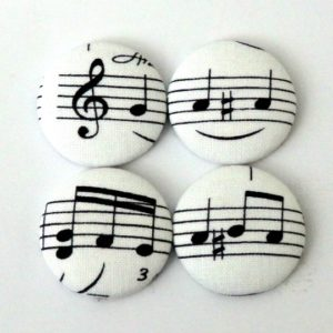 28mm White Music Note Magnets Set of 4