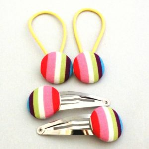 Rainbow Stripes 23mm button elastics and snap clips set