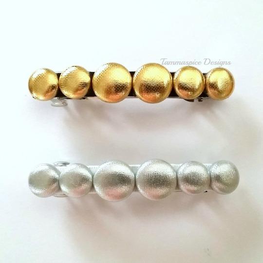 Gold & Silver Button Barrette Clips