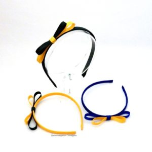 School colour ribbon wrapped headbands