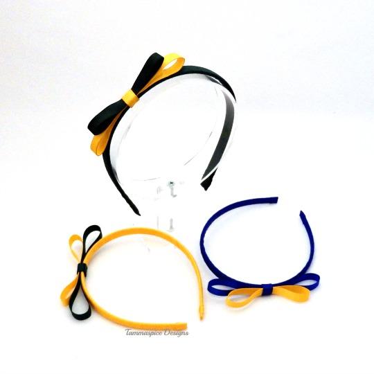 School colour ribbon wrapped headbands
