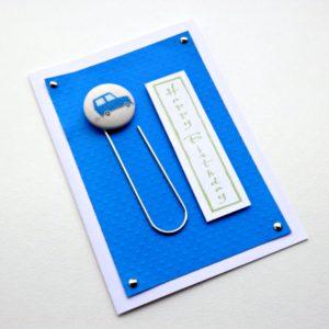 Blue car button bookmark card