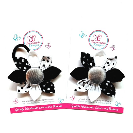 Monochrome Magic Flower Clip & Elastic
