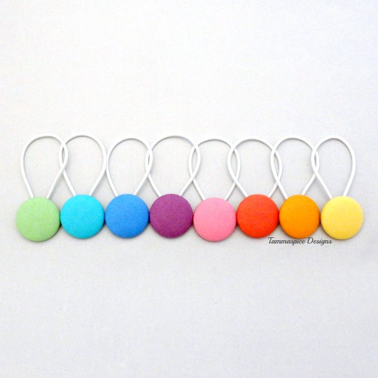 Rainbow Pastel button elastics set
