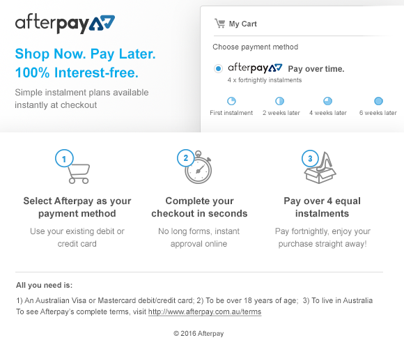 Afterpay information box