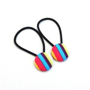 Rainbow Stripes 23mm button elastics
