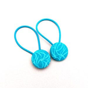 Teal leaves 23mm button elastics