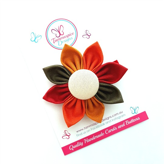 Colours of Autumn flower button clip