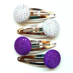 Purple and Silver Sparkles Snapclips