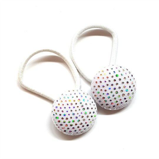 Silver Sparkles 28mm Button Elastics