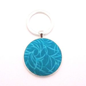 Teal Leaves Keyring