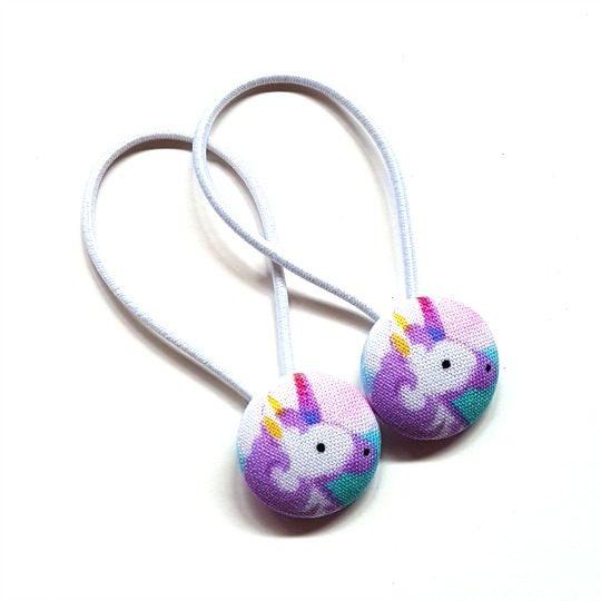 23mm Purple Unicorns Button Elastics