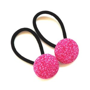 28mm Button Elastics Hot Pink Leaves