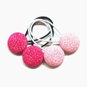 Pink Leaves 28mm Button Elastics