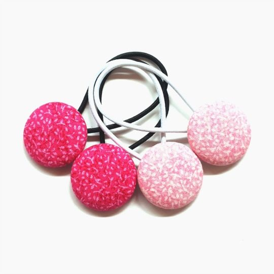 Pink Leaves 28mm Button Elastics