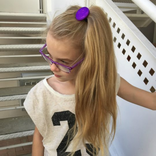 Purple Sparkles Button Elastic on Emily