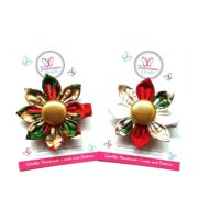 Merry & Holly Christmas Flower Clips