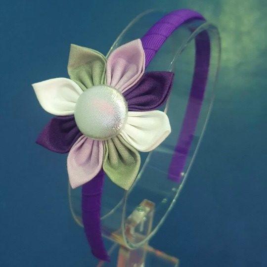 Sugar Plum Flower on dark purple headband