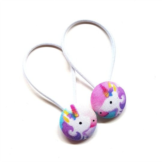 23mm Purple Unicorns (facing each other) Button Elastics