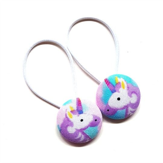 28mm Purple Unicorns (set 2) Button Elastics