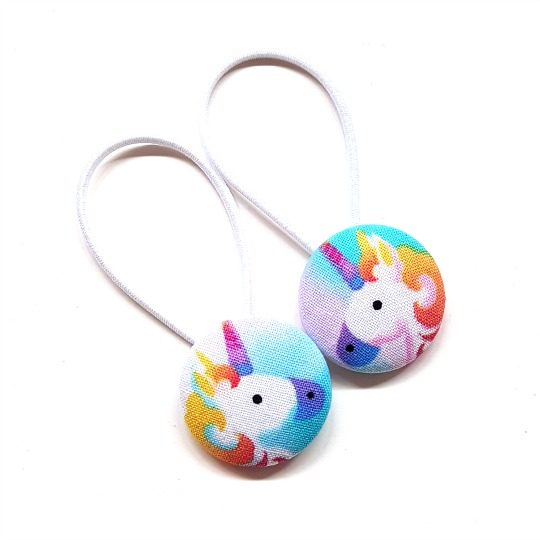 28mm Rainbow Unicorns Button Elastics