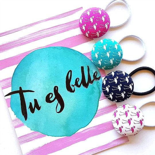 Tu es belle Flamingo Button Elastics Flatlay