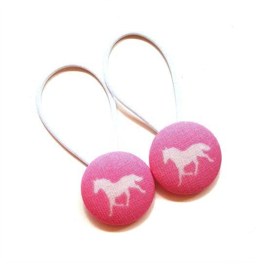 28mm Pink Derby Horse Button Elastics