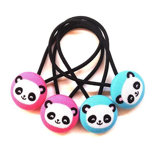 Pandas on black 23mm Button Elastics