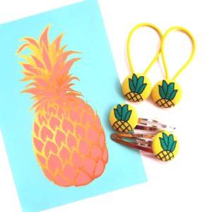 Pineapple 23mm Set with yellow elastics Flatlay