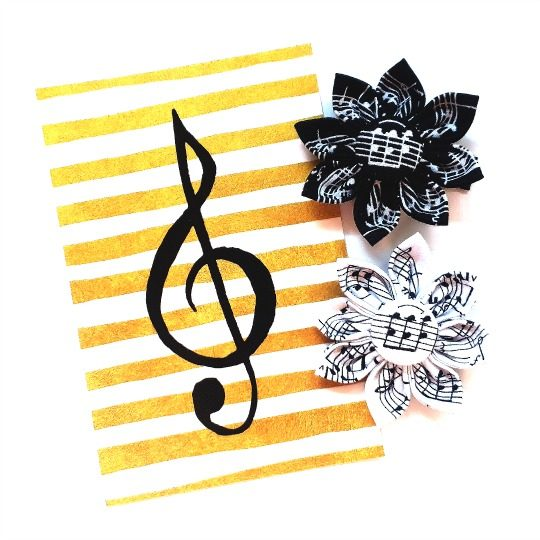 Music Flower Clips flatlay