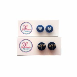 12mm Mini Denim Button Stud Earrings