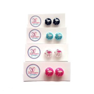 12mm Mini Flamingo Button Stud Earrings