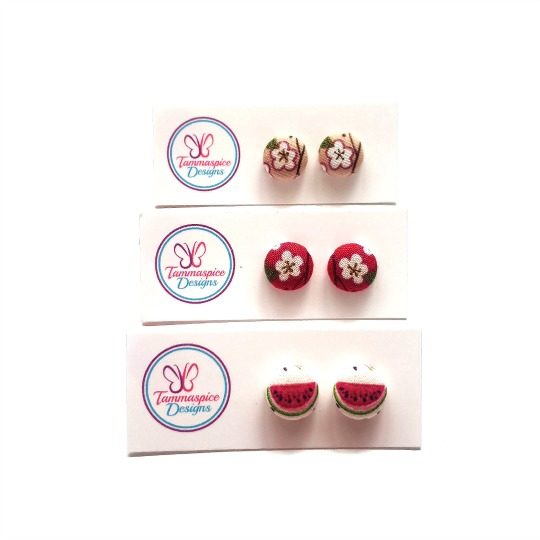 12mm Mini Flower and Fruit Button Stud Earrings