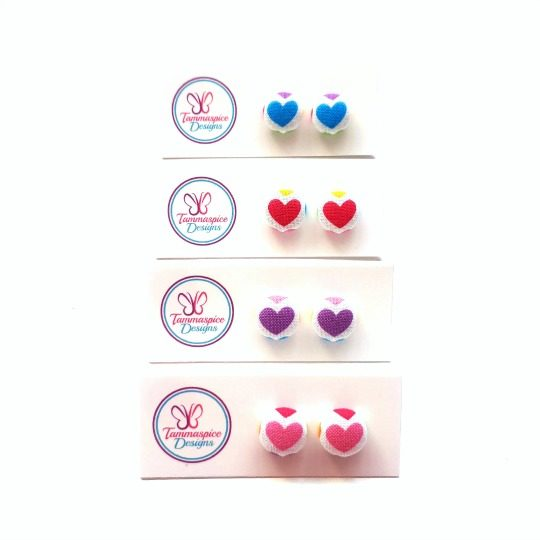 12mm Mini Hearts Button Stud Earrings