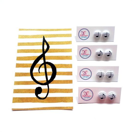 12mm Mini Music Note Stud Button Earrings flatlay