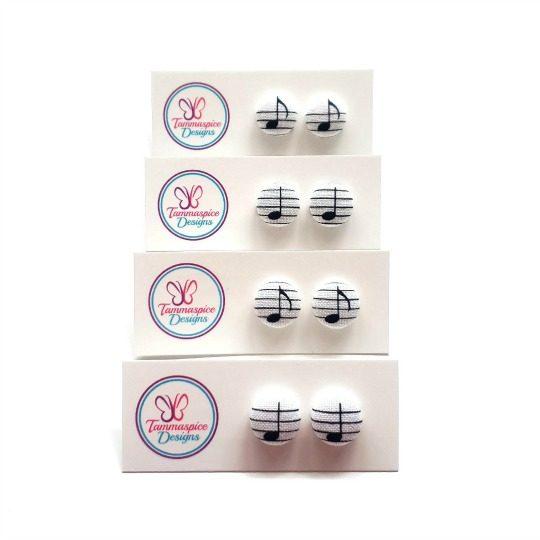 12mm Mini Music Note Stud Earrings