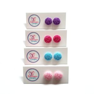 12mm Mini Patterned Stud Button Earrings
