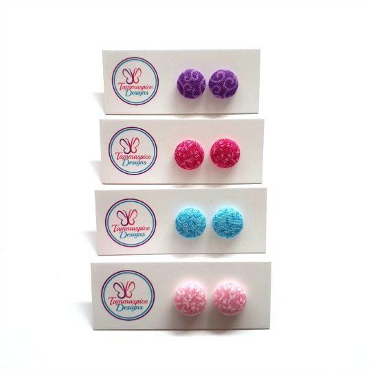 12mm Mini Patterned Stud Button Earrings