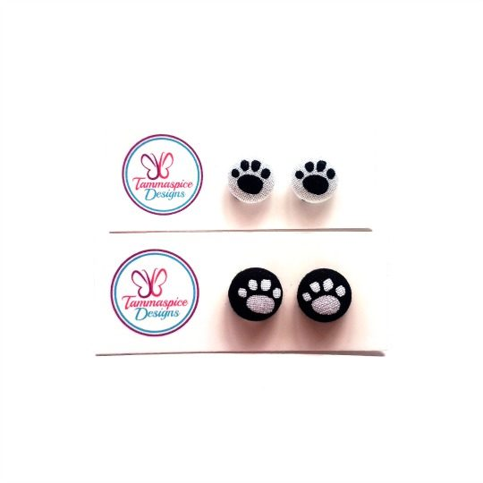 12mm Mini Paws Button Stud Earrings
