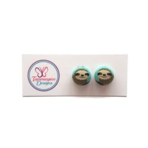 12mm Sloths Button Stud Earrings
